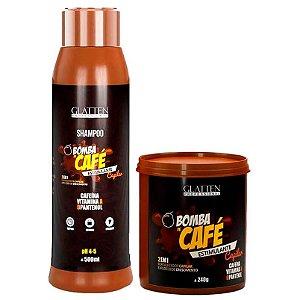 Glatten Bomba de Café Shampoo 500ml e Máscara 240g