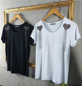 T-Shirt Corações Franja