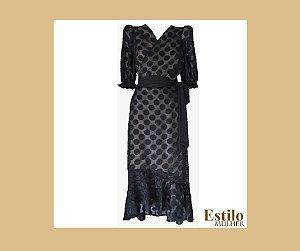 Vestido Mídi Transpassado com Barra Assimétrica