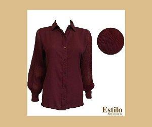Camisa marsala, Manga Longa Plissada com detalhe Poá
