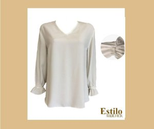 Blusa Off White com decote V