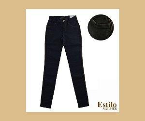 Calça Jeans Super Skinny Resinada Azul Marinho