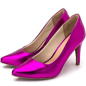 Sapato Scarpin Salto Alto Fino Em Pink Metalizado