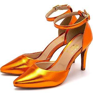 Sapato Scarpin Salto Alto Fino Em Laranja Metalizado