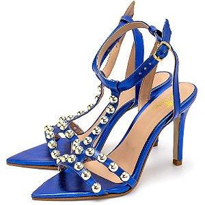 Sandália Feminina Salto Alto Em Metalizado Azul Bic