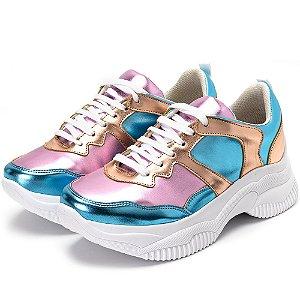 Tênis Sneakers Chuncky Recortes Rosa Bb Metalizado E Azul Bb Metalizado