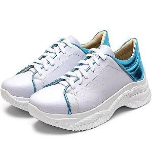 Tênis Sneakers Chuncky Recortes Napa Branca Com Azul Bb Metalizado