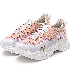 Tênis Sneakers Chuncky Recortes Em Napa Branca Com Glitter Rosa