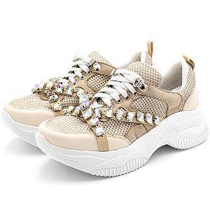 Tênis Sneakers Chunky Recortes Napa Creme Detalhes Pedras Strass