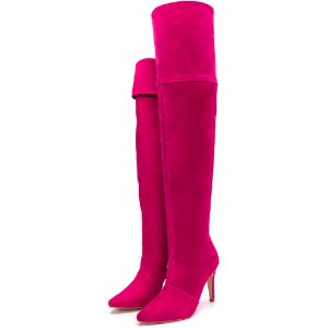 Bota Over Salto Fino Cano Alto Camurça Pink