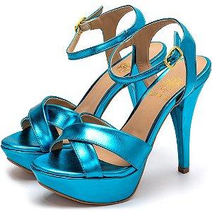 Sandália Tamanco Plataforma Salto Alto Fino Em Azul Serenity Metalizado