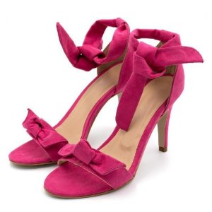Sandália Salto Alto Com Laço Em Camurça Rosa Pink
