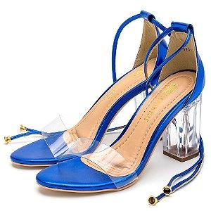 Sandália Salto Alto Em Metalizado Azul Com Transparência E Salto Transparente