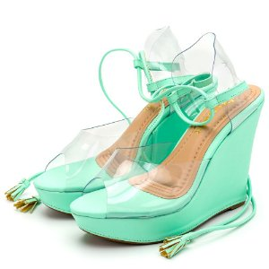 Sandália Espadrille Anabela Em Napa Verde Pastel  Com Transparência