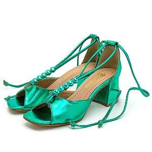 Sandália Feminina Salto Baixo Retro Bico Quadrado Em Verde Metalizado