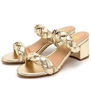 Sandália Salto Grosso Médio Em Metalizado Dourado