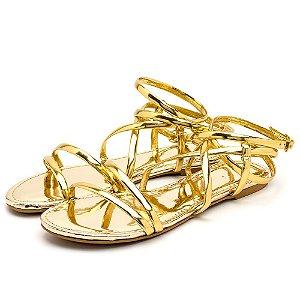 Sandália Rasteira Aberta Tiras Em Verniz Dourado
