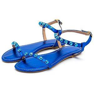 Sandália Rasteira Com Esferas Em Metalizado Azul Bic Outlet