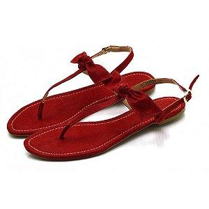 Sandália Rasteira Com Laço Em Nobucado Vermelho Outlet
