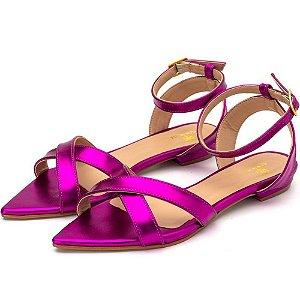 Sandália Rasteira Aberta Tiras Em Rosa Pink Metalizado Outlet