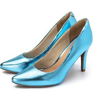 Sapato Scarpin Salto Alto Fino Em Azul Serenity Metalizado Outlet