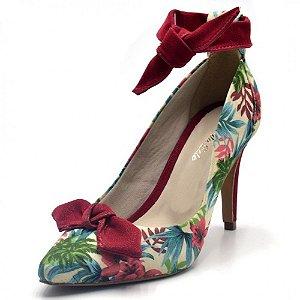 Sapato Scarpin Com Laço Salto Alto Fino Em Tecido Floral Branco Outlet