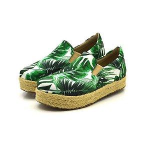 Tênis Sapatilha Feminino Slip On Flat Form Em Tecido Color Tropical Outlet