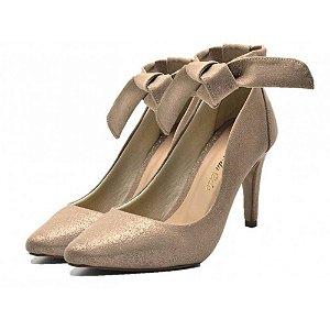 Sapato Scarpin Com Laço Salto Alto Fino Em Nobucado Areia Cintilante Outlet