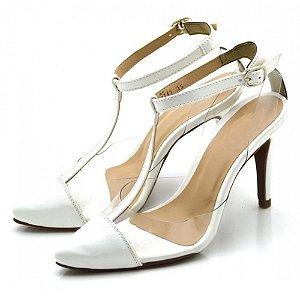 Sapato Scarpin Aberto Em Napa Branca Com Transparênci Outlet