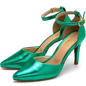 Sapato Scarpin Salto Alto Fino Em Verde Metalizado Outlet