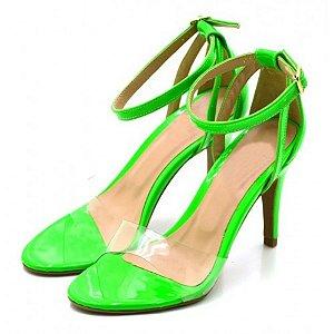 Sandália Feminina Salto Baixo Fino Em Verniz Verde Outlet