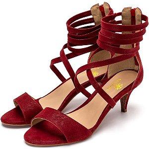 Sandália Salto Alto Meia Cana Em Nobucado Vermelho Outlet