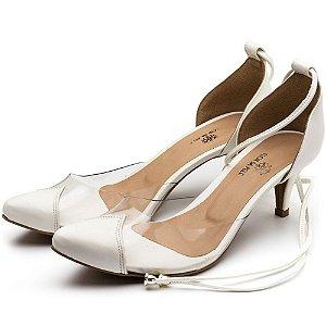 Sapato Scarpin Salto Baixo Em Napa Branca Com Transparência Outlet