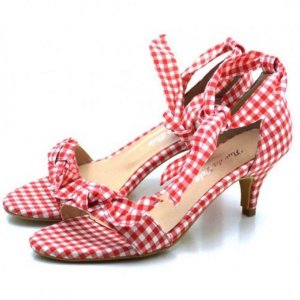 Sandália Feminina Salto Baixo Fino Com Laço Tecido Xadrez Vermelho Outlet