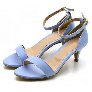 Sandália Feminina Social Salto Baixo Fino Em Napa Azul Serenity Outlet