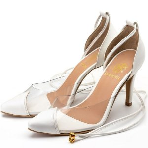 Sapato Scarpin Salto Alto Em Napa Branca Com Transparência Outlet