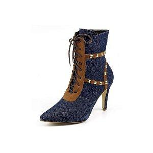 Bota Cano Médio Bico Fino Em Jeans Azul Outlet