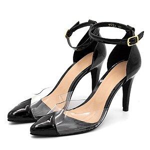 Sapato Scarpin Salto Alto Em Napa Verniz Preto Com Transparência Outlet