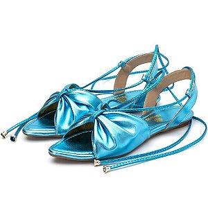 Sandália Rasteira Aberta Em Azul Serenity Metalizado Outlet