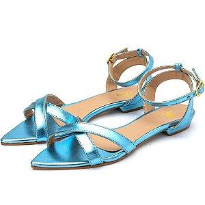 Sandália Rasteira Aberta Tiras Em Azul Serenity Metalizado Outlet