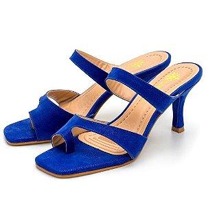 Sandália Feminina Salto Baixo Fino Bico Quadrado Em Nobucado Azul Bic Outlet