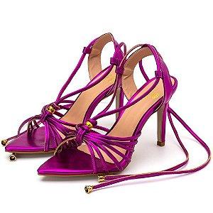 Sandália Feminina Salto Alto Em Pink Metalizado Outlet