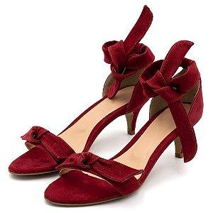 Sandália Feminina Salto Baixo Fino Com Laço Em Nobucado Vermelho