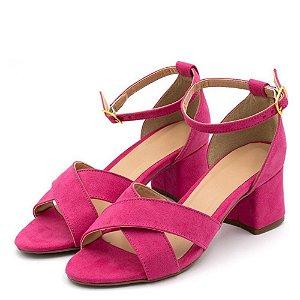 Sandália Trançada Salto Grosso Médio Em Camurça Rosa Pink Outlet