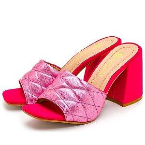 Tamanco Sandália Feminina Salto Alto Bico Quadrado Em Napa Pink E Metalizado Rosa Outlet
