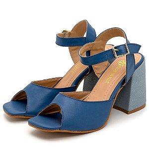 Tamanco Sandália Feminina Salto Alto Bico Quadrado Em Napa Azul Jeans Outlet