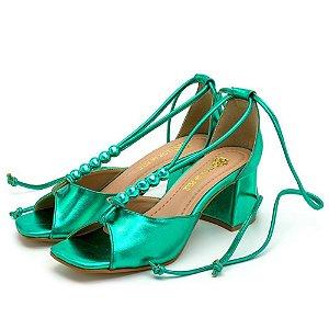 Sandália Feminina Salto Baixo Retro Bico Quadrado Em Verde Metalizado Outlet