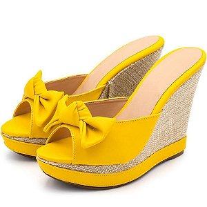 Sandália Tamanco Anabela Salto Alto Em Napa Amarelo