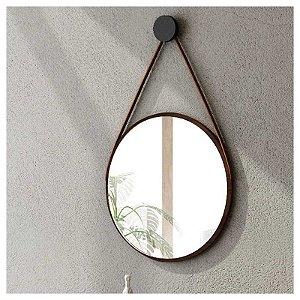 Espelho Com Alça Em Couro Escandinavo Havana - Líder Design