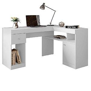 Mesa De Computador Com Porta E Gaveta Nilo Branco Fosco